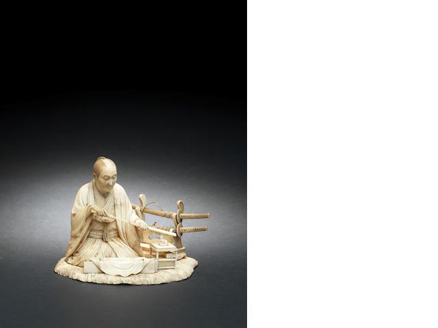 An ivory okimono of a Samurai By Jyoshu/Shizumune, Meiji Period