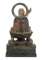 A wood sculpture of Jizo Bosatsu Attributed to Kosho (1534-1621), probably Momoyama Period