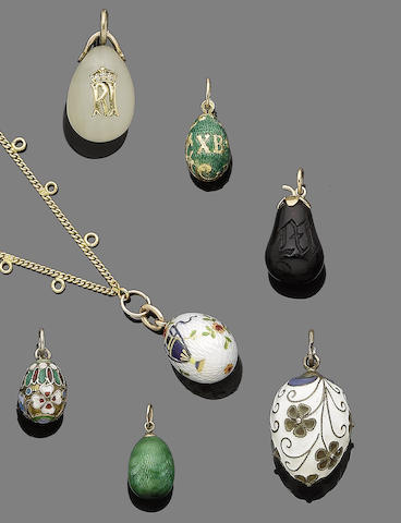 Eleven egg pendants (11) (partially illustrated)