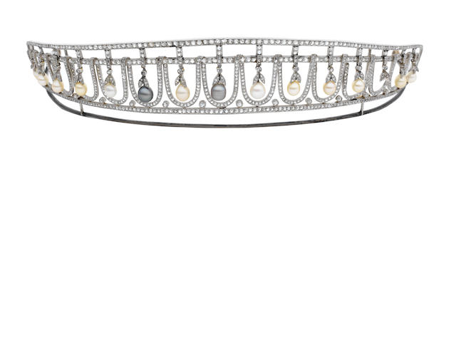 A pearl and diamond tiara (illustrated above)