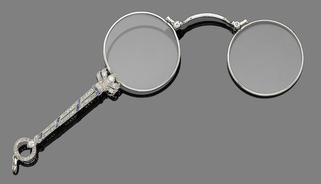 A sapphire and diamond lorgnette,
