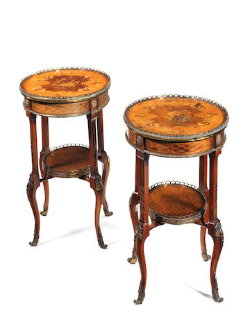 A pair of mid Victorian satin-birch, marquetry and gilt-brass mounted small tables in the Louis XV/XVI transitional style