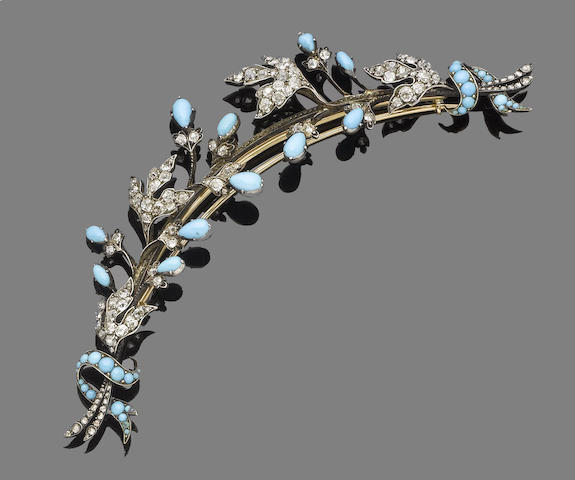 A turquoise and diamond spray brooch,