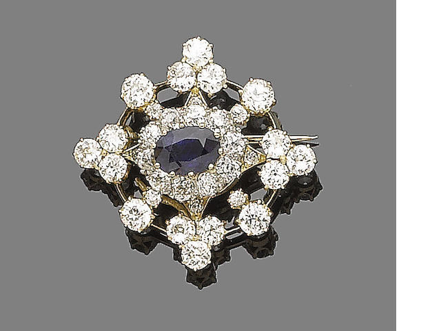 A sapphire and diamond target cluster brooch/stickpin combination,