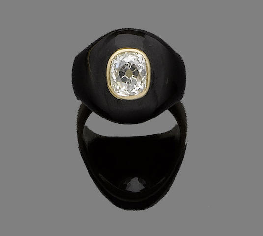 A 19th century enamel and diamond mourning ring