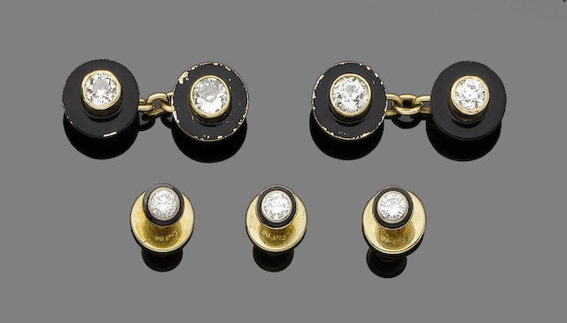 A gentleman's black enamel and diamond dress set (4)