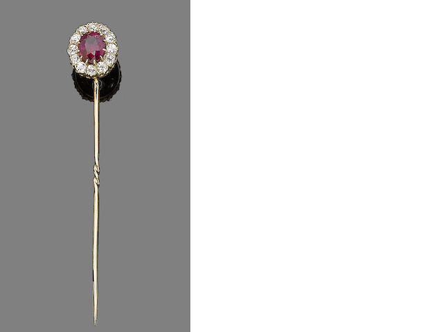A ruby and diamond stickpin/ring combination