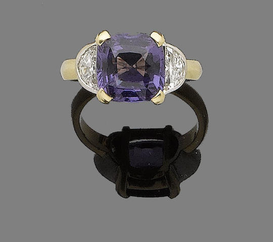 A purple spinel and diamond ring