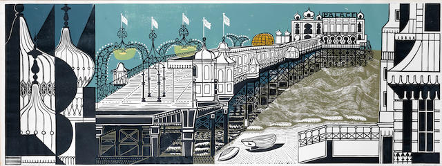 Edward Bawden R.A. (British, 1903-1989) Brighton Pier - First Edition Linocut printed in colours, 1958, on wove, signed, dated and inscribed 'Artist's Proof 25/40' in pencil, with margins, 532 x 1450mm (21 x 57 1/8in)(B)