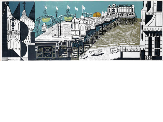 Edward Bawden R.A. (British, 1903-1989) Brighton Pier - First Edition Linocut printed in colours, 1958, on wove, signed, dated, inscribed 'Artist's Proof' and numbered 25/40 in pencil, 532 x 1450mm (21 x 57 1/8in)(B)
