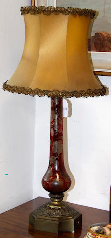 A Victorian ruby glass table lamp, with shade