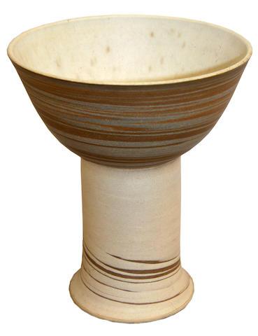 Gordon Baldwin: A stoneware pedestal bowl,