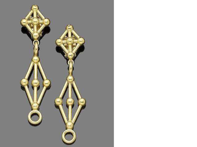 A pair of pendent earclips,  by Lalaounis