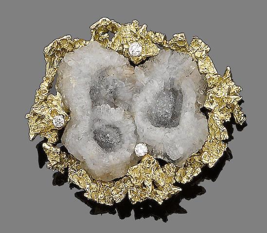 A gold, quartz geode and diamond brooch, by Alan Martin Gard