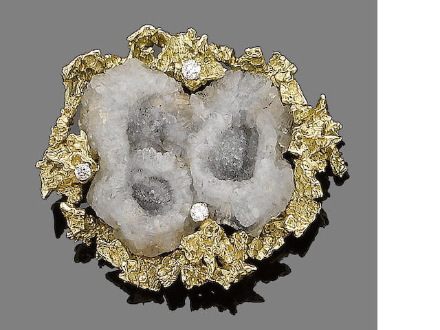A gold, quartz geode and diamond brooch, by Alan Martin Gard