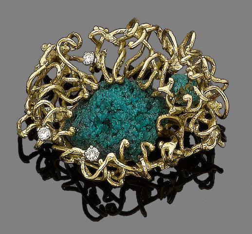 A dioptase and diamond brooch