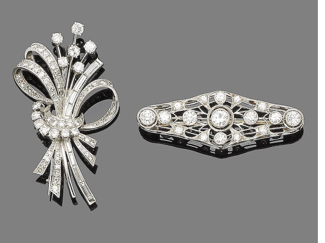 Two diamond brooches (2)