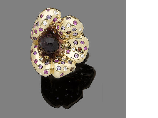 A gem-set flower dress ring, by Margherita Burgener