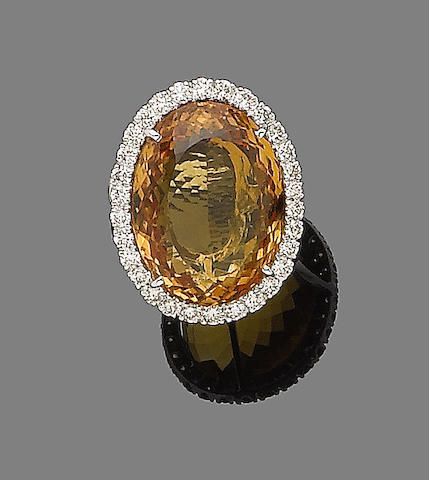 A citrine and diamond dress ring