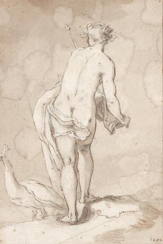 Abraham Bloemaert (Dordrecht circa 1564-1651 Utrecht) A female nude with a peacock