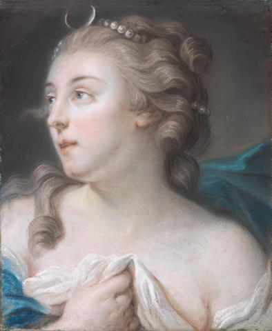 French School, 18th Century Portrait of a lady as Diana