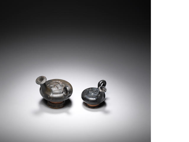 Two Greek black glazed gutti 2