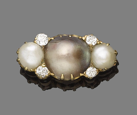 A late 19th century pearl and diamond brooch