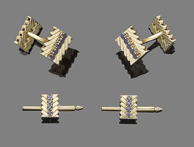 A pair of sapphire cufflinks and two studs en suite, by Van Cleef & Arpels (3)