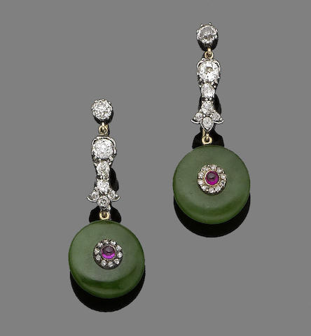 A pair of jade, ruby and diamond pendent earrings