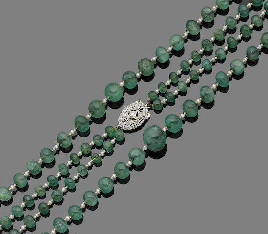 A two-strand emerald bead necklace