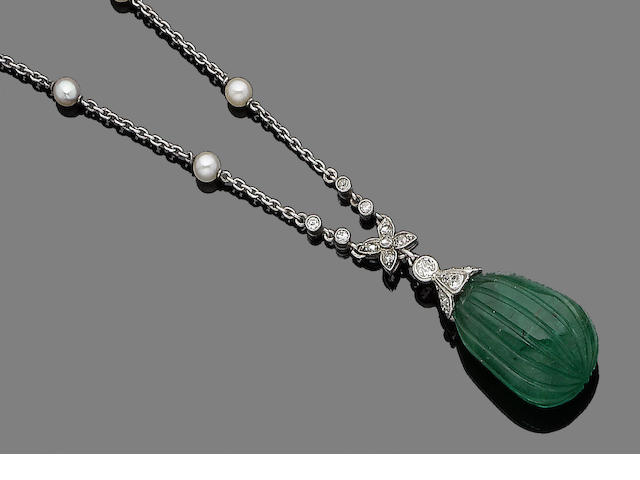 An emerald, cultured pearl and diamond pendant necklace