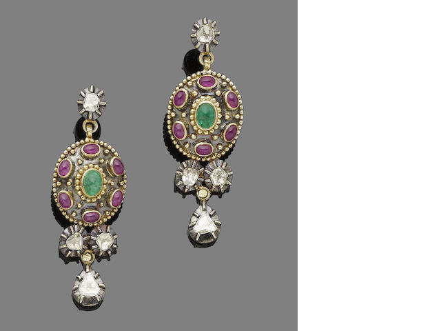 A pair of emerald, ruby and diamond pendent earrings