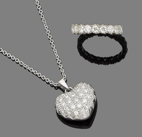 A diamond-set pendant necklace and eternity ring (2)