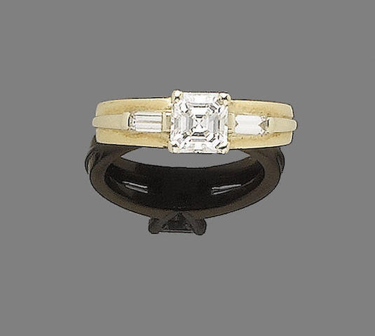 A diamond single-stone ring, by Fred