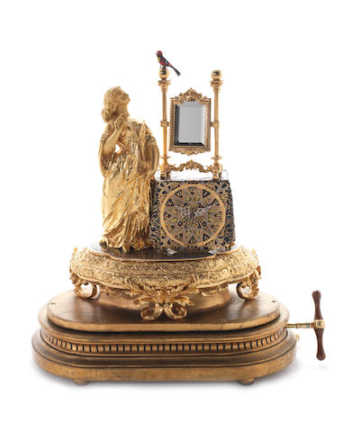 Fine Bontems singing bird clock with maiden and mirror gilt appliqué