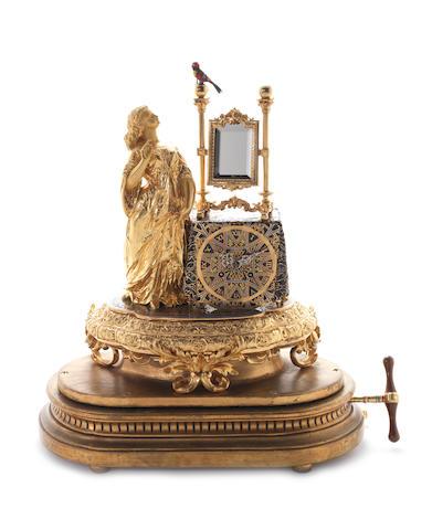 Fine Bontems singing bird clock with maiden and mirror gilt appliqué