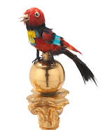 A rare and fine deux-ton gilt ormolu and enamel oiseau chantant mantle timepiece automaton, by Bontems circa 1890,