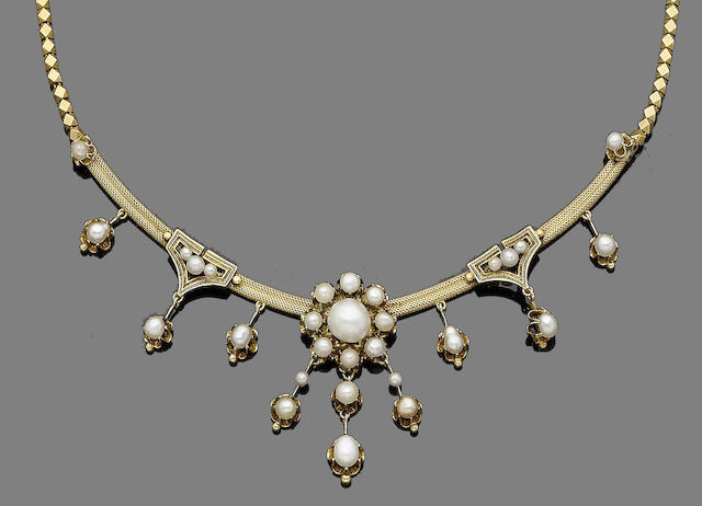 A 19th century gold and pearl necklace