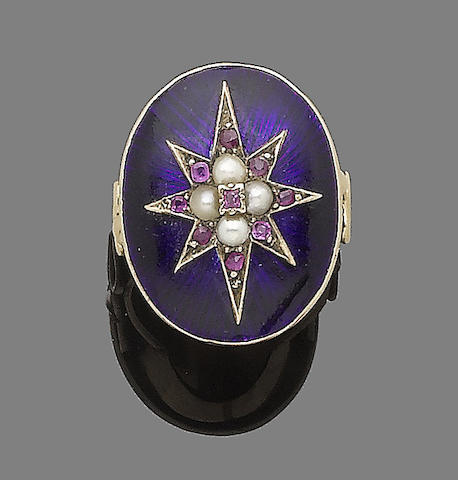 A 19th century enamel, seed pearl and ruby ring