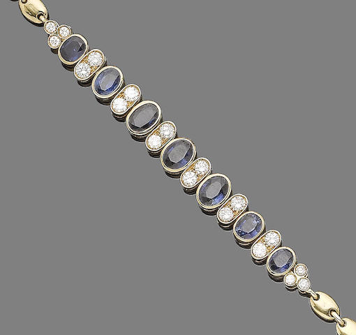 A sapphire and diamond necklace and bracelet suite (2) (partially illustrated)