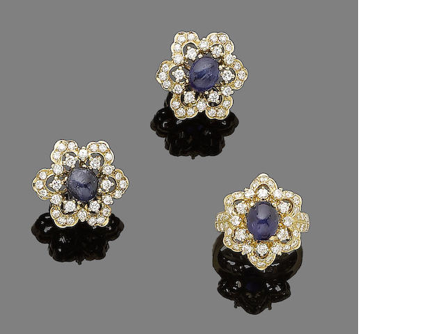 A sapphire and diamond ring and earring suite  (2)