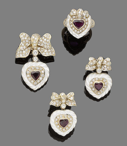 A ruby and diamond pendant, ring and pair of earrings (3)