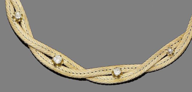 A diamond-set collar necklace