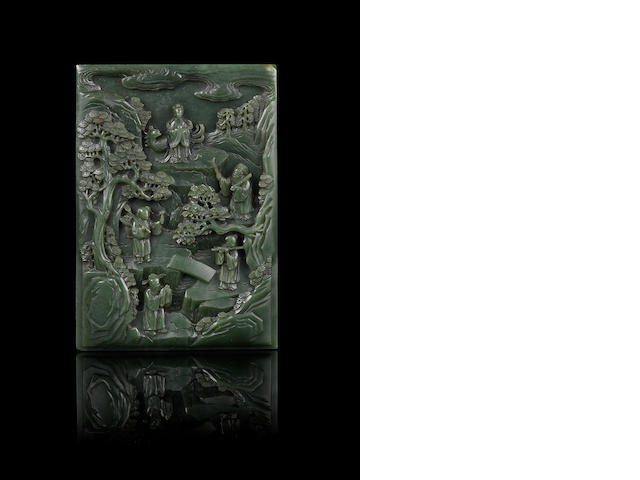 A very fine deeply-carved green jade 'Immortals' rectangular panel Qianlong