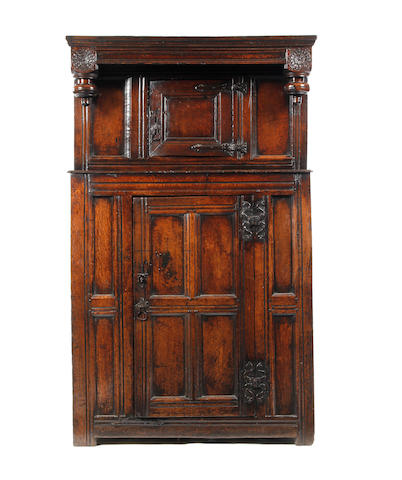 A small oak court cupboard Incorporating 17th century timbers