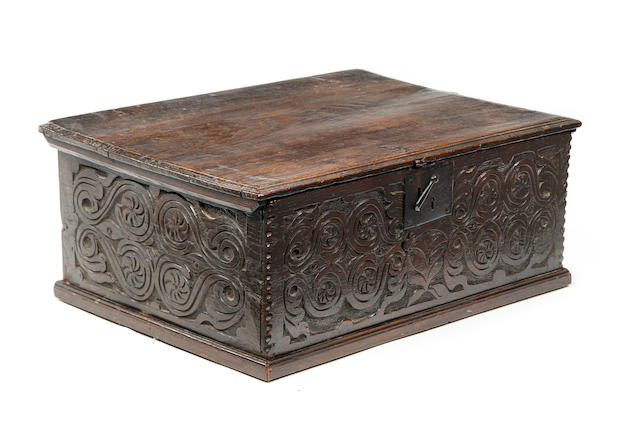 A Charles II boarded oak desk box