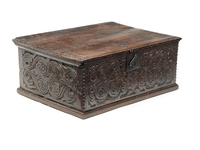 A late 17th century oak bible box