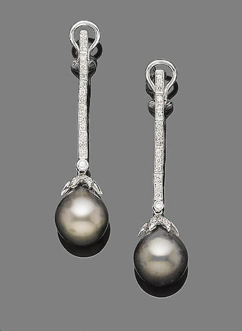 A pair of cultured pearl and diamond pendant earrings