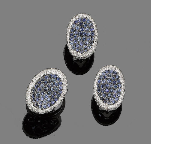 A sapphire and diamond ring and earclip suite (2)