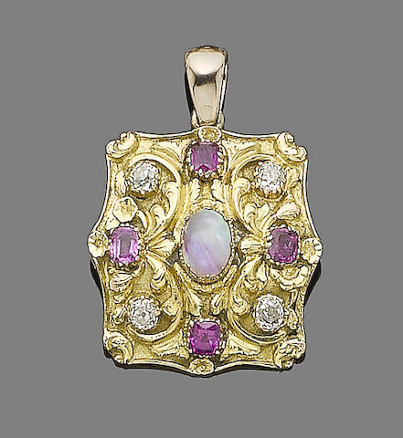 A 19th century opal, ruby and diamond pendant